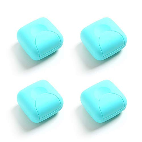 Milky House Travel Soap Case, Plastic Travel Soap Box Mini Outdoor Hiking Camping Soap Dish Holder Case Container 4 Pack (Blue, Small)