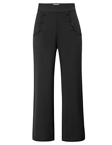 Belle Poque Women's Vintage High Waisted Stretchy Wide Legs Button-Down Pants