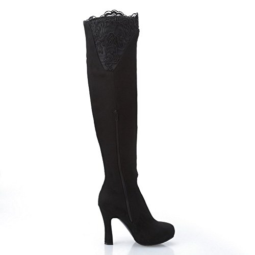 and Women's Blend Glass Materials Thread with Diamond Heels Black Allhqfashion Boots High Twq5CTd8