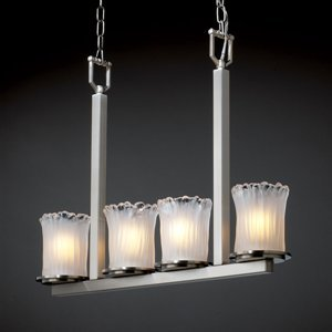 - Justice Design Group GLA-8778 Dakota 4 Light Bar Chandelier from the Veneto Luce, Brushed Nickel with Whitewash Shades