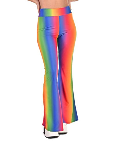 iHeartRaves Prismatic Rainbow Bell Bottom Flared Pants (Small)