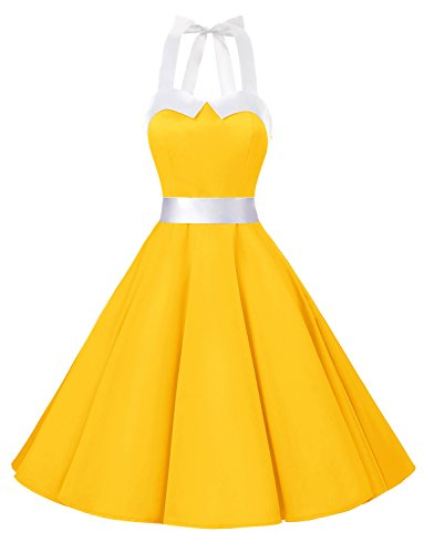 Dressystar Vintage Polka Dot Retro Cocktail Prom Dresses 50's 60's Rockabilly Bandage Solid Yellow L -