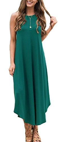 - ETCYY Women's Summer Casual Stripe Sleeveless Loose Beach Maxi Dress,X-Large,Green