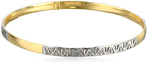 14k Two-Tone Gold Italian Slip-On Bangle Bracelet