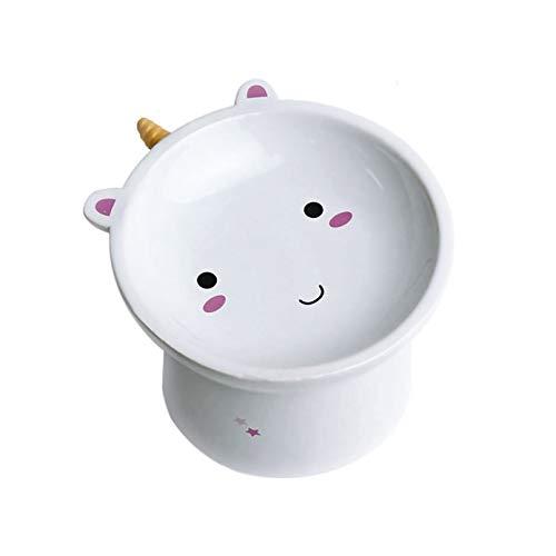 Pets Purpose Mini Ceramic Raised Unicorn Feeding Cat Bowl - Elevated Food Bowl - Stress-Free Meal
