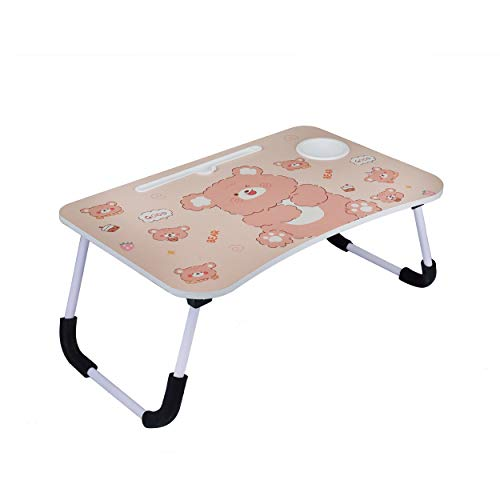 RYZAN Laptop Table Multipurpose Foldable Laptop Table with Cup Holder, Study Table, Bed Table, Breakfast Table, Foldable & Portable/Ergonomic & Rounded Edges/Non-Slip Legs (Bear)