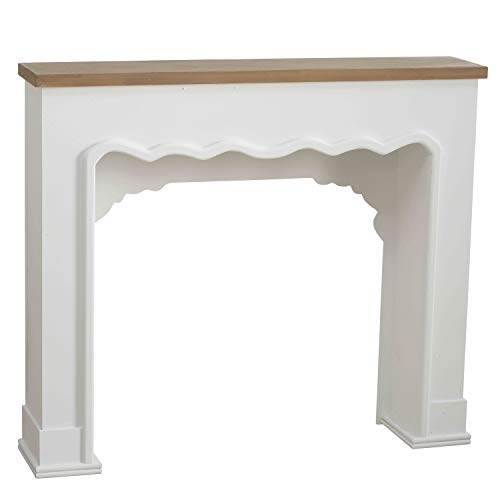 Comfy Cottage Faux Fire Mantle , Rustic Nut Brown Plank-Lintel, Scallop Edged Surround Details, White Painted, Natural and MDF Wood, Over 3 Ft Long (43 1/4 L x 37 1/2 H Inches) Free Standing Unit ()