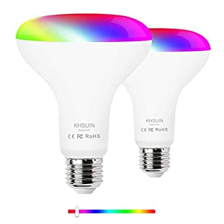 Smart Light Bulb, KHSUIN BR30 WiFi Dimmable LED Light Bulbs Compatible with Alexa,Google Assistant,9W 800 Lumen,2.4G(Not 5G) E26 WiFi Multicolor Light Bulb,2 Pack