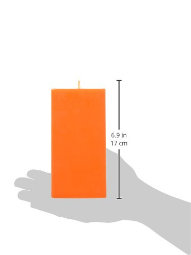 3 by 6-Inch Orange Square Zest Candle Pillar Candle