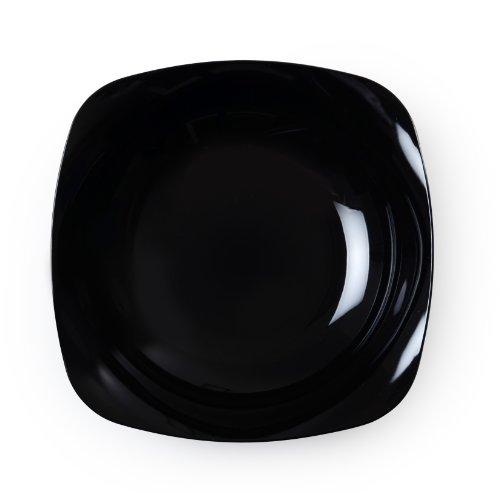 Fineline Settings Renaissance Black Rounded Square China-Like 12 oz Bowl  120 - Bowl Square Rounded