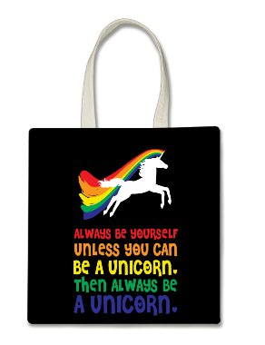 (Always Be Yourself Unless You Can Be a Unicorn Then Always Be a Unicorn Halloween Trick Or Treat Polyester White Tote Bag 15x16x 3.5)