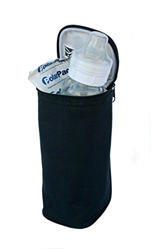 J.L. Childress Breastmilk Cooler and Baby Bottle Bag, Insulated and Leak Proof, Ice Pack Included, Single Bottle, Black
