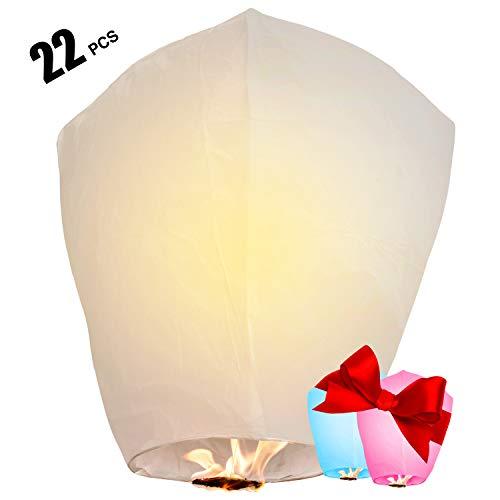 Chinese Lanterns 22-Pack – 100% Biodegradable, Paper Sky Lantern – Japanese Lantern for Weddings, Celebrations, Memorial Ceremonies – White Flying Wish Lanterns, 2 Bonus Colourful Lanterns blue & pink (Send Day Same Balloons)