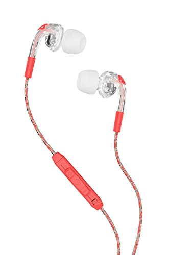 Skullcandy S2FXHX-476 Bombshell Women's In-Ear Headphones with Earbud, Mic & Remote, Mash-Up/Clear/Coral