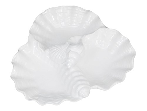 Drew Derose Triple Shell White Ceramic Appetizer Serving Dish