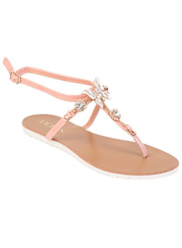 Detail Butterfly Sandals Gladiator Summer Pink Beach Shoes Flat Ladies Fancy Womens Strappy 50q4YYBxw