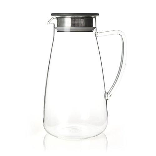 FORLIFE 838-A-CHC Flask Glass Iced Tea Jug, 64 oz, Charcoal ()