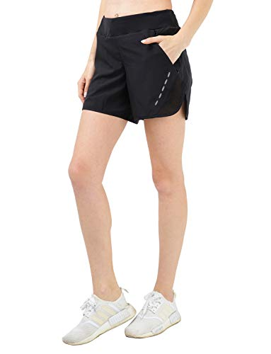 MIER Women's 5 Inches Running Shorts Quick Dry Workout Shorts with Liner, 4 Pockets, Water Resistant, Lightweight, Black, L