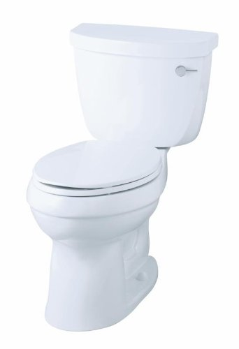 KOHLER K-3589-RA-0 Cimarron Comfort Height Elongated Toilet with Class Five Technology and Right-Hand Trip Lever, Less Seat, White