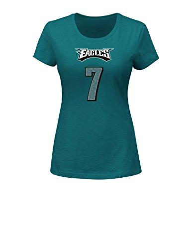 VF LSG NFL Philadelphia Eagles Sam Bradford 7 Women's Her Highlight Player Program Short Sleeve Deep Crew Neck Tee, Medium, Marine Green