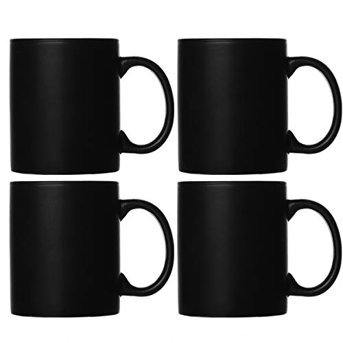Smilatte M010 Matte Black Porcelain Coffee Mugs, 12 oz Classic Ceramic Cup with Hanlde for Latte Cappuccino Tea, set of 4