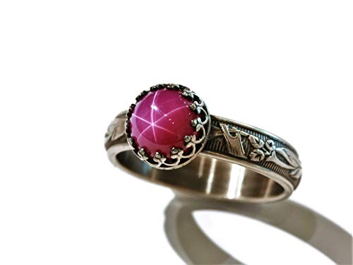 Ring Ruby Star - 8mm Created Pink Star Ruby Sterling Silver Ring Blooming Flower Band Antique Finish