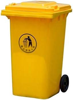 屋外のゴミ箱、厚み付けプラスチックホイルごみ箱高容量100L多機能ゴミ箱 (Color : Yellow, Size : 100L)