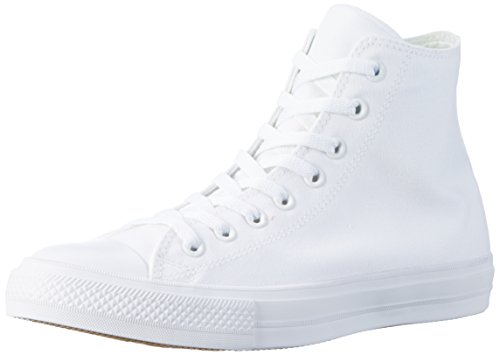 Converse Unisex Chuck Taylor All Star II Hi White/White Basketball Shoe 10.5 Men US