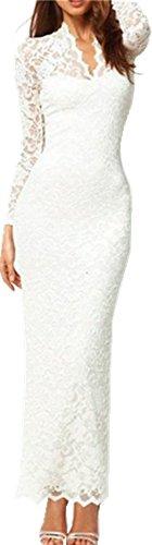 Women's Fashion Elegant Stylish Scalloped Neck Lace Full Maxi Dress XL White