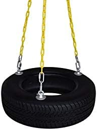 SAFARI SWINGS Fun Outdoor Rubber Tire Swing For Kids Adults Includes 3 Eye Bolts, three 6 Long Plastic Coated Chains a 3 Quick Link Child and Adult Tire Swing Set Accessories For The Porch, Tr