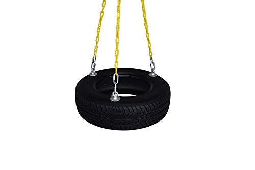 SAFARI SWINGS Fun Outdoor Rubber Tire Swing For Kids & Adults (Includes 3 Eye Bolts, three 6' Long Plastic Coated Chains & a 3'' Quick Link) Child and Adult Tire Swing Set Accessories For The Porch, Tr by Safari Swings