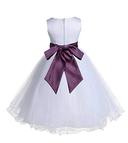 Wedding Pageant White Flower Girl Rattail Edge Tulle Dress 829s 12-18m -