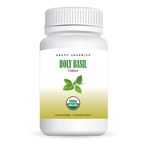 100% Organic Holy Basil (Tulsi) 920MG for Stress Relief, Relaxed Mind, Emotional Balance, Immune & Adrenal Health. 120 Vegetarian Tablets.