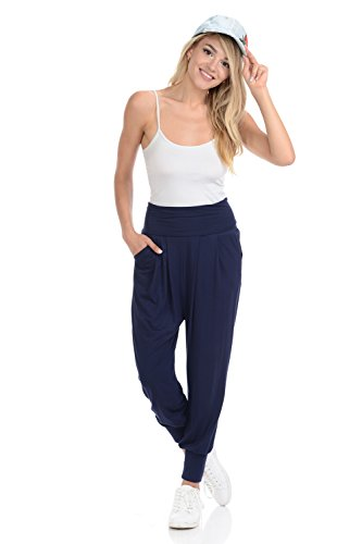 iconic luxe Women's Banded Waist Harem Jogger Pants with Pockets Large Navy