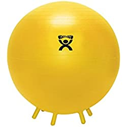 """CanDo Non-Slip Inflatable Exercise Ball with Stability Feet, Yellow, 17.7"""""""