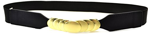 (Style & Co Women's Stretch Belt with Gold-tone Buckle Black Med/large)