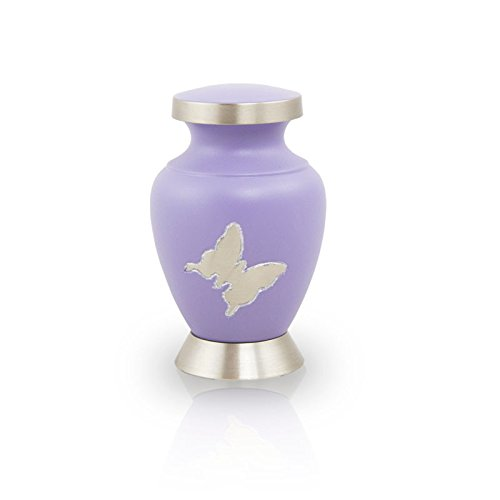 OneWorld Memorials Aria Butterfly Bronze Keepsake Urns - Extra Small - Holds Up to 5 Cubic Inches of Ashes - Purple Cremation Urn for Ashes - Engraving Sold Separately
