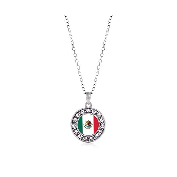 Inspired-Silver-Silver-Circle-Charm-18-Inch-Necklace-with-Cubic-Zirconia-Jewelry