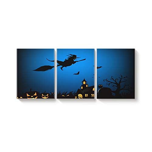 Arts Language 3 Piece Canvas Wall Art Painting for Office Bedroom Living Room Home Decor,Horror Witch Riding Broomstick to Castle Bats Halloween Design Pictures Modern Artworks,12 x 16in x 3 Panels