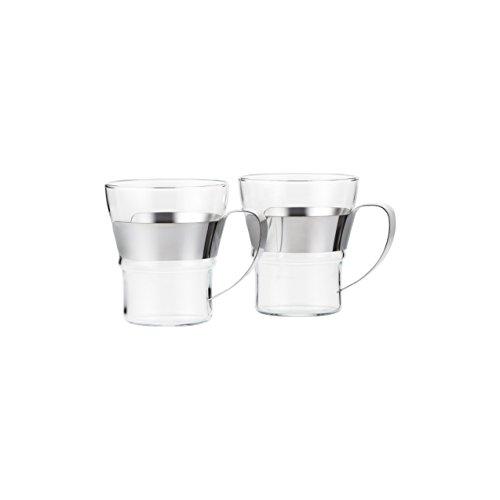 (Bodum 4552-16 Assam 2 Piece Small Tea Glass with Steel Handle, 10 oz, Chrome)