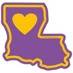 Heart in Louisiana Sticker Vinyl Decal Label Stickers, Die-Cut Shape for Water Bottle Laptop Luggage Bike Laptop Car Bumper LA Waterproof Show Love Pride Local New Orleans Big Easy Bourbon