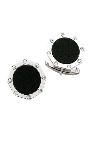 - 14K White Gold Octagon Diamond and Onyx Cuff Links-86193