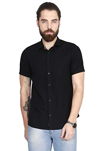 ROPE Men #39;s Solid Casual Spread Shirt