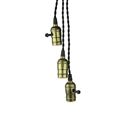 supmart vintage triple light sockets pendant hanging light. Black Bedroom Furniture Sets. Home Design Ideas