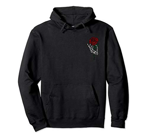 Skeleton Hand Holding Rose Hoodie, Traditional Tattoos ()