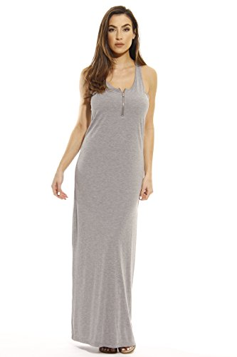 Just Love 401500-GHY-1X Summer Dresses/Maxi Dress with Front Zipper Heathered Grey