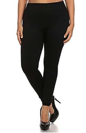 Popular Women's Plus Size Premium Basic Full Length Leggings - Black - 1X/2X