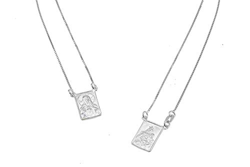 FRONAY 14k Gold Plated Silver Escapulario Necklace, Double Sided, Religious Fine Jewelry (Rhodium-Plated-Silver) from Fronay Collection