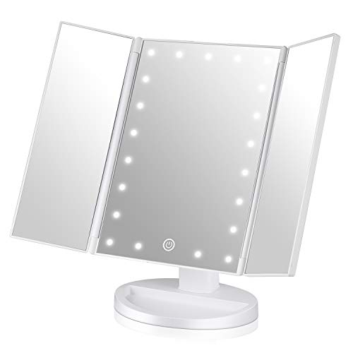 EASEHOLD Make-up Mirror White with 21 Led Light Flatable Foldable Standing Mirror 180 ° Freely rotatable for Bathroom and Bedroom ()