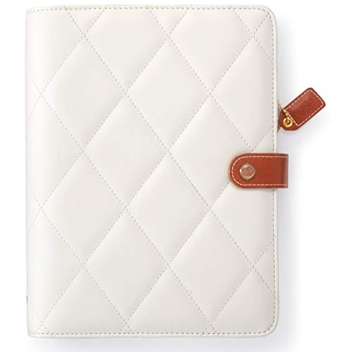 """Webster's Pages, White Pillow Diamond, A5 Size Planner Binder, Holds A5 Journals & Notebooks, 7.5"""" x 1.75"""" x 10"""""""